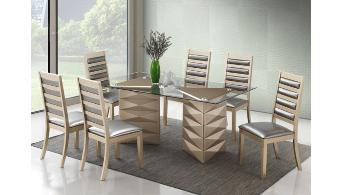 Wilmer Gold Finish Dining Table Set