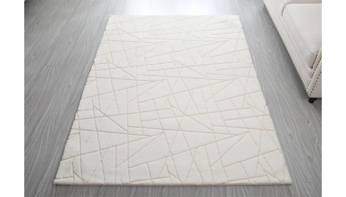 Wisteria White Rug With Gold Lines