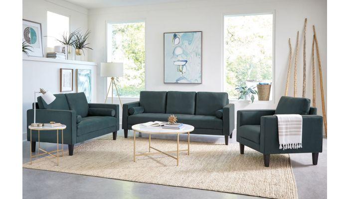 Woller Dark Teal Velvet Sofa Set