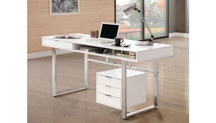 Worcher White Lacquer Home Office Desk