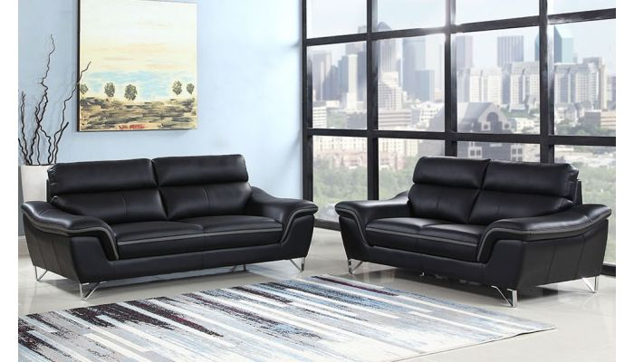Wraith Modern Sofa Black Leather