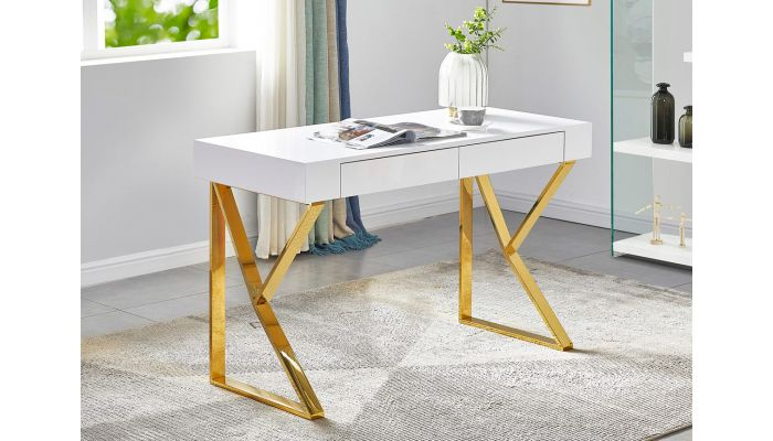 Zahir Desk With Gold Finish Legs