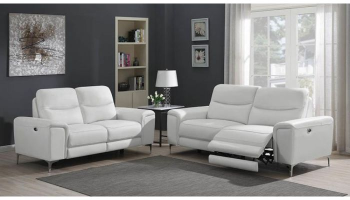 Outstanding Zane Power Recliner Sofa White Leather Gmtry Best Dining Table And Chair Ideas Images Gmtryco