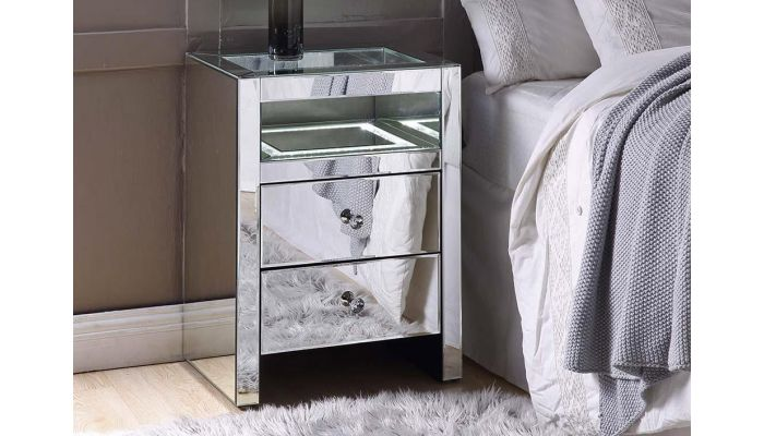 Zarina Mirrored Night Stand With LED Light