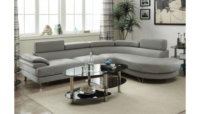 Zelma Grey Leather Sectional