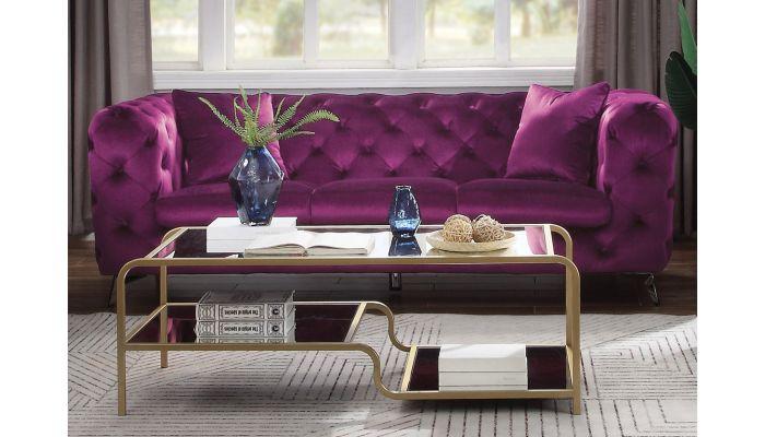 Modern Chesterfield Sofa Purple Fabric