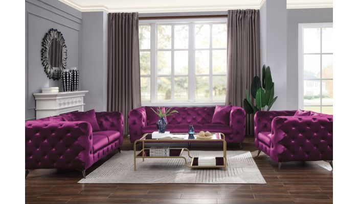 Modern Chesterfield Sofa Purple Fabric