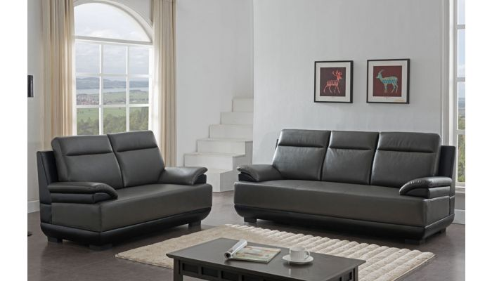 Zibak Gray and Black Leatherette Modern Sofa
