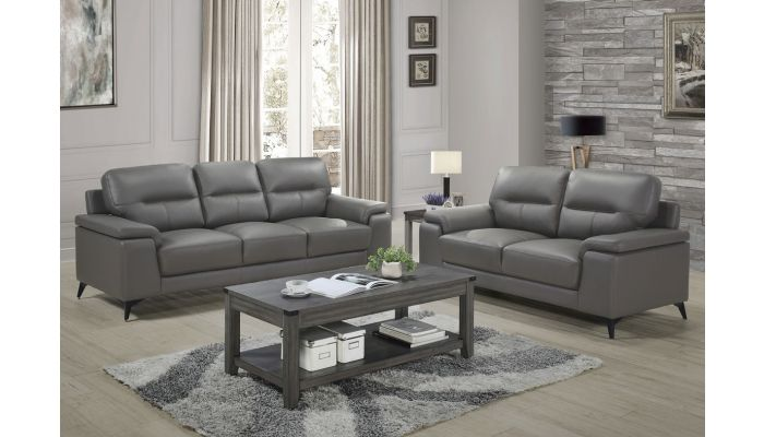 Zoso Modern Grey Leather Living Room