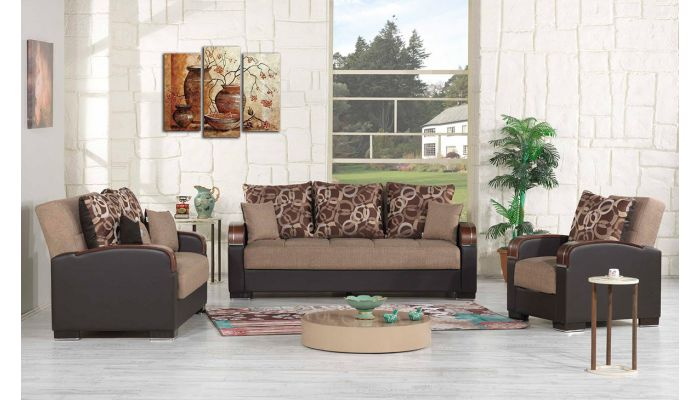 Zoya Sofa Bed Collection Brown Chenille