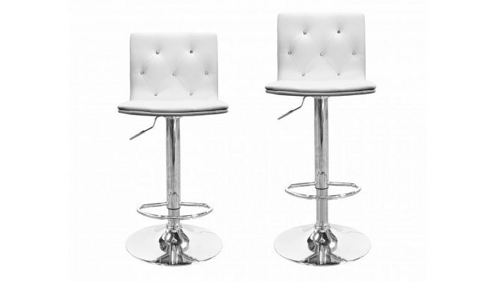 Fantastic Zuo Crystal Tufted Leather Barstool Set Dailytribune Chair Design For Home Dailytribuneorg
