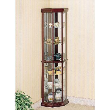 Glass Door Corner Curio Cabinet 3393