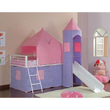 Castle Pink Bunk Bed With Slide