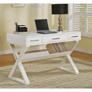 Bourdex Contemporary Office Desk White Finish
