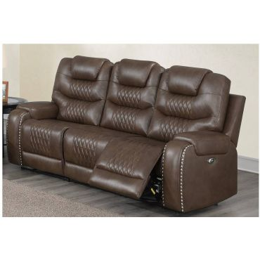Adriano Brown Leather Recliner Sofa