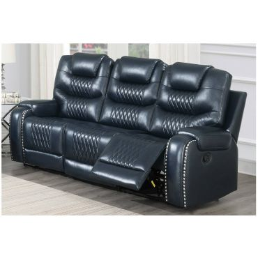 Adriano Navy Blue Leather Recliner Sofa