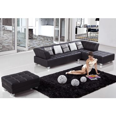 Star Leather Sectional Sofa Set,Black Sectional With Sitting Right Side Chaise,Star Black Leather Sectional Sofa