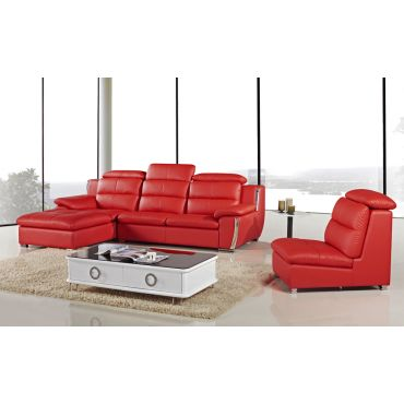 Xena Modern Red Leather Sectional