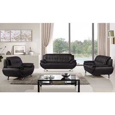 Sabina Black Leather Sofa Set
