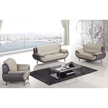 Aldo Modern Style Grey Leather Sofa Set