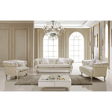 Ludovik Crystal Tufted Leather Sofa Set