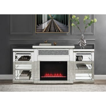 Agno Mirrored Console With Fireplace