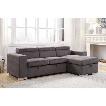 Alaina Grey Chenille Sectional Sleeper