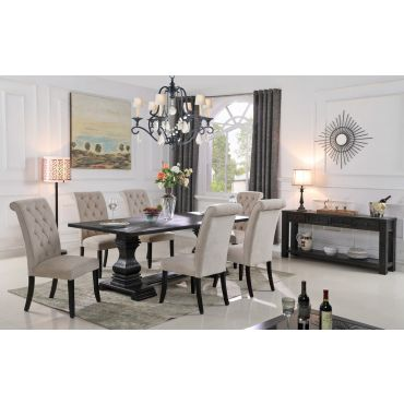 Alberta Dining Table Set Black Finish