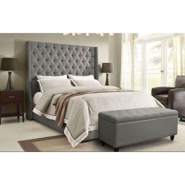 Alder Tall Headboard Bed Grey Linen
