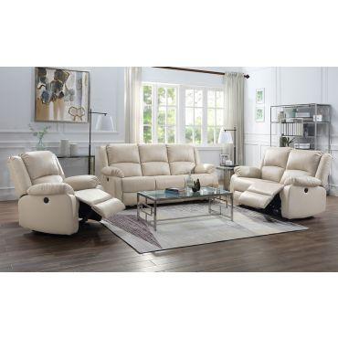 Alex Beige Leather Power Recliner Sofa Set