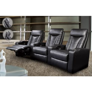 Alfie Black Leather Recliner Theater Seats