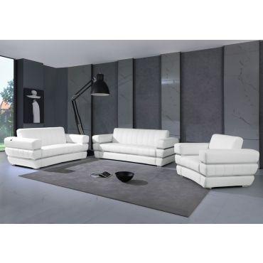 Allison White Italian Leather Sofa Set