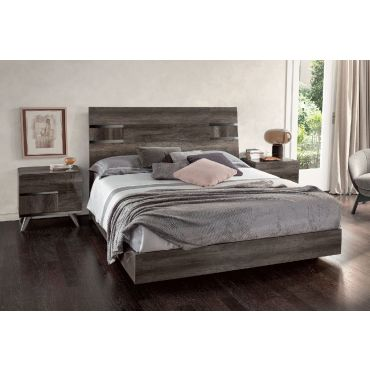 Alonza Vintage Oak Glossy Finish Modern Bed