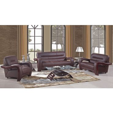 Alpha Modern Brown Leather Living Room