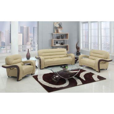 Alpha Beige Genuine Leather Living Room Set
