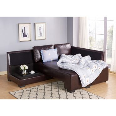 Alpine Brown Leather Sectional Sleeper