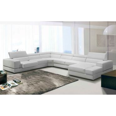Amare White Leather U Shape Sectional