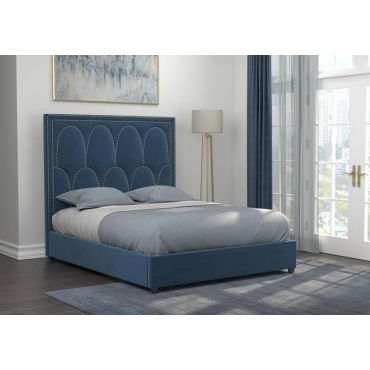 Ameta Blue Velvet Bed With Hail Head Accent
