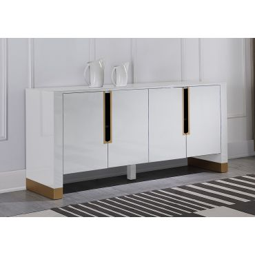 Andros White Lacquer Modern Sideboard