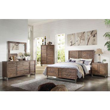 Anfisa Modern Bed Reclaimed Oak Finish