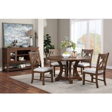 Angie Round Table Set Rustic Walnut Finish