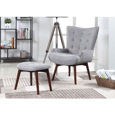 Ansley Grey Linen Accent Chair With Ottoman