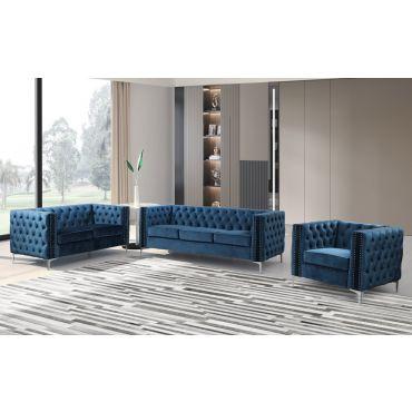 Antares Tufted Blue Velvet Sofa Set