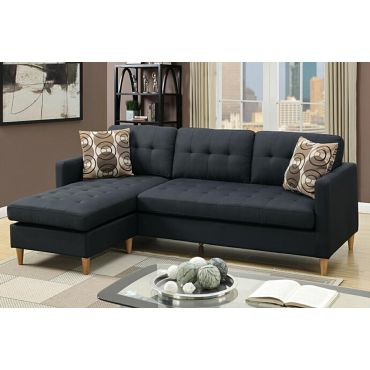 Anthony Reversible Sectional Black Fabric