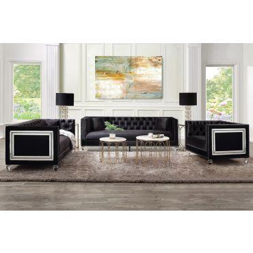 Arctic Black Velvet Sofa Mirrored Accents