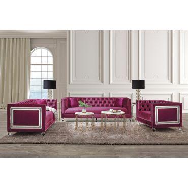 Arctic Velvet Sofa With Mirror Accent