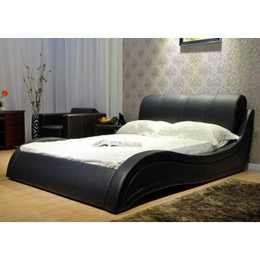 Aria Platform Bed Black Leather