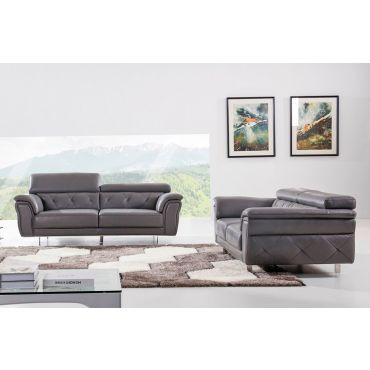 Arianna Grey Italian Leather Sofa Set
