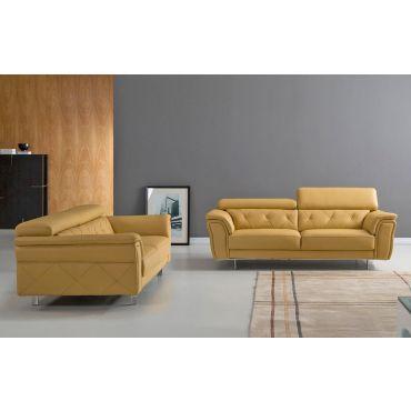 Arianna Yellow Italian Leather Living Room