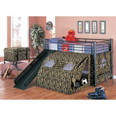 Army Tented Loft Bed With Slide